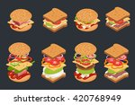 Vector Set Of Isometric Burger...