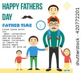 dad keeps son by the hand. dad... | Shutterstock .eps vector #420772201