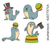 circus seals. vector...   Shutterstock .eps vector #420775714