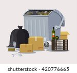 street trashcan. vector flat...