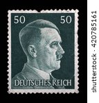 Small photo of ZAGREB, CROATIA - JUNE 25: A stamp printed in Germany shows image of Adolf Hitler, series, 1941, on June 25, 2014, Zagreb, Croatia