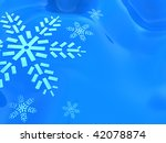 abstract 3d illustration of winter blue background with snowflakes - stock photo