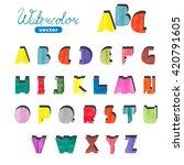 watercolor cute alphabet.... | Shutterstock .eps vector #420791605