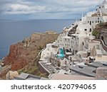 oia village with ocean view on... | Shutterstock . vector #420794065