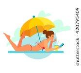 the girl sunbathes on the beach ... | Shutterstock .eps vector #420795409