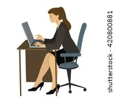 isolated brunette woman working ... | Shutterstock .eps vector #420800881