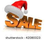 3d illustration of golden sale sign and red christmas hat - stock photo