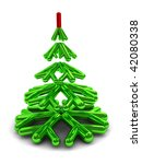 3d illustration of green christmas tree symbol, over white background - stock photo