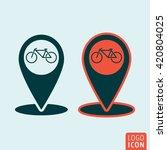 map pointer icon. bike rental...
