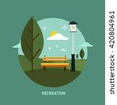 bench in the park flat icon | Shutterstock .eps vector #420804961