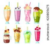 set of milkshake  smoothie with ... | Shutterstock .eps vector #420805675