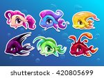 cute cartoon fish characters...