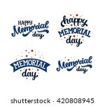 happy memorial day  text with... | Shutterstock .eps vector #420808945
