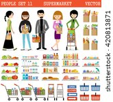 people in a supermarket with... | Shutterstock .eps vector #420813871