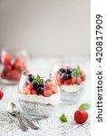 layered light healthy dessert ...   Shutterstock . vector #420817909