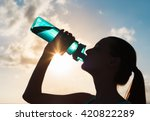 woman drinking water.  | Shutterstock . vector #420822289