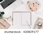 workspace with diary  pen ... | Shutterstock . vector #420829177