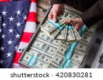 male hands holding dollar... | Shutterstock . vector #420830281
