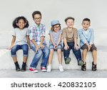 hipster kids friends playing... | Shutterstock . vector #420832105