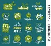 vector eco  organic  bio logos... | Shutterstock .eps vector #420836281