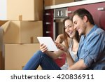couple moving home and buying... | Shutterstock . vector #420836911