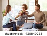 delighted colleagues drinking... | Shutterstock . vector #420840235