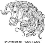 Stock vector portrait of a horse with long decorated mane coloring page 420841201