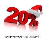 3d illustration of christmas discount with twenty percent sign - stock photo