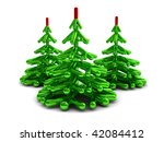 3d illustration of three stylized christmas trees over white background - stock photo