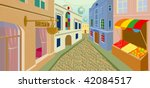 day street in an old city | Shutterstock .eps vector #42084517