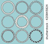 set of 9 decorative circle... | Shutterstock .eps vector #420845824