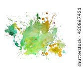 watercolor spot with droplets ... | Shutterstock .eps vector #420867421