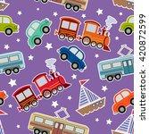 seamless kids transport toys... | Shutterstock .eps vector #420872599