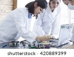 learn the machine works  take... | Shutterstock . vector #420889399