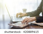 accounting. business woman at... | Shutterstock . vector #420889615