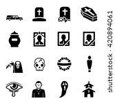 funeral vector icon set | Shutterstock .eps vector #420894061