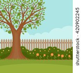 Stock vector gardening banner with summer garden landscape apple tree flower bushes wood fence and lawn 420902245