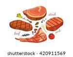 set beef steak  vector. grilled ... | Shutterstock .eps vector #420911569