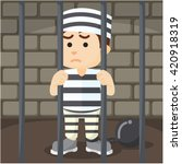 Convict Inside Jail Cartoon...