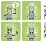 set of knight characters posing ... | Shutterstock .eps vector #420932011