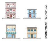 beautiful four european houses. ... | Shutterstock .eps vector #420934261