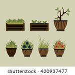 cute flowerpots. vector set.... | Shutterstock .eps vector #420937477