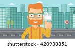 man pressing like button. | Shutterstock .eps vector #420938851