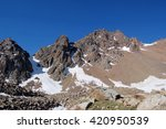 the mountains. snow covered... | Shutterstock . vector #420950539