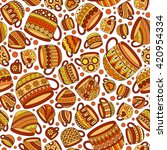 retro coffee seamless pattern ... | Shutterstock . vector #420954334