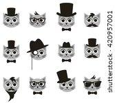 retro gentleman and hipster cat ... | Shutterstock .eps vector #420957001