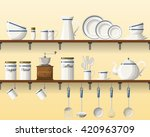kitchen shelving with tableware ... | Shutterstock .eps vector #420963709