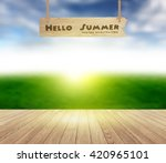 wood floor texture on sky and... | Shutterstock .eps vector #420965101