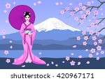 japanese geisha in traditional...
