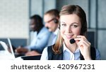 portrait of call center worker...   Shutterstock . vector #420967231